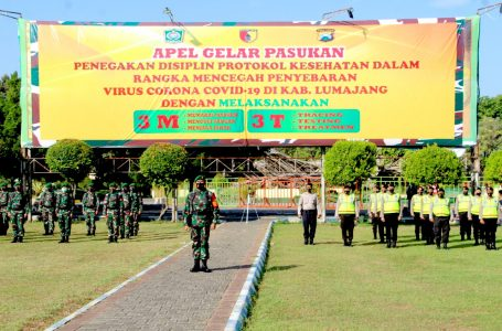 Forkopimda Lumajang Laksanakan Apel Gelar Pasukan Penegakan Disiplin Protokol Kesehatan