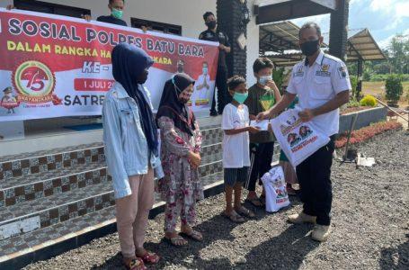 HUT Bhayangkara ke 75, Satreskrim Batu bara Bakti Sosial Pengaspalan Area Mesjid