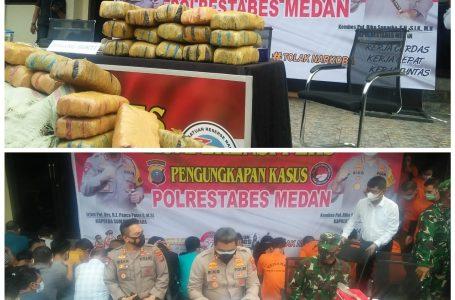 Terkait Razia PPKM dan Penangkapan 170 Kg Ganja, Polrestabes Medan Lakukan Konferensi Pers