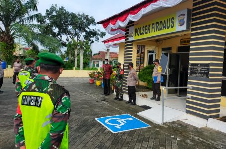 Koramil 10/SR Ajak Polsek dan Kecamatan Lakukan Apel Gabungan Satgas Covid-19 PPKM Level 3