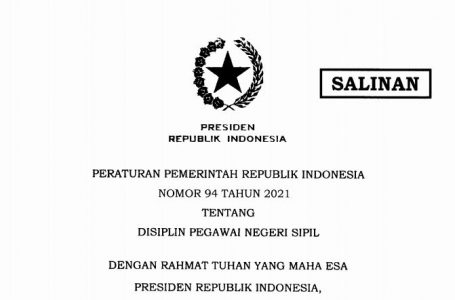 PP 94/2021 tentang Disiplin PNS