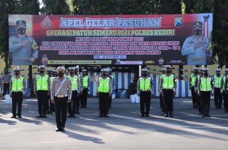 Polres Kediri Gelar Apel Pasukan Dalam Rangka Operasi Patuh Semeru 2021
