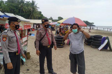 Ditpamobvit Polda Banten Patroli Beri Imbauan Prokesdi Pantai Carita